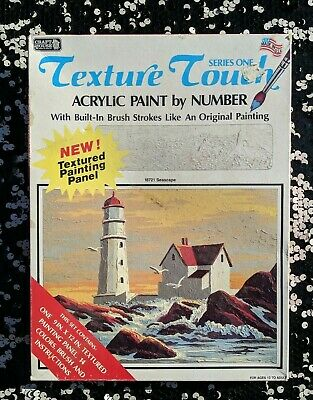 """Vintage Paint-by-number Texture Touch Acrylic Still Sealed """"Seascapes"""""""