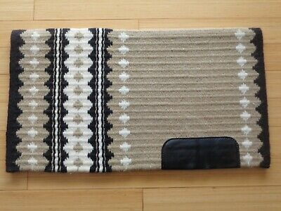 High Quality Tight Weave Wool Pattern Western Show Pad~Wear Leathers~Black-Tan