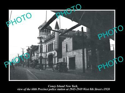 OLD LARGE HISTORIC PHOTO BROOKLYN NEW YORK CONEY ISLAND 60th POLICE STATION 1920