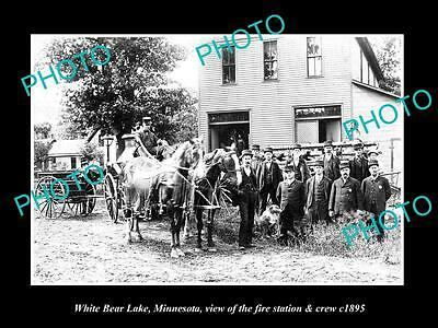 Old Large Historic Photo White Bear Lake Minnesota, The Fire Station & Crew 1895