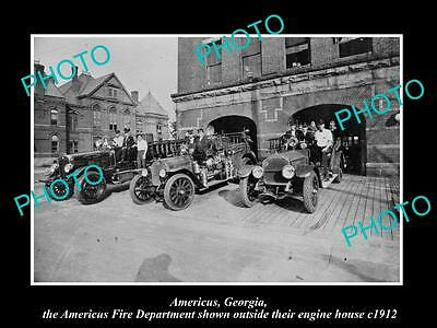 OLD LARGE HISTORIC PHOTO AMERICUS GEORGIA, THE FIRE DEPARTMENT STATION c1912