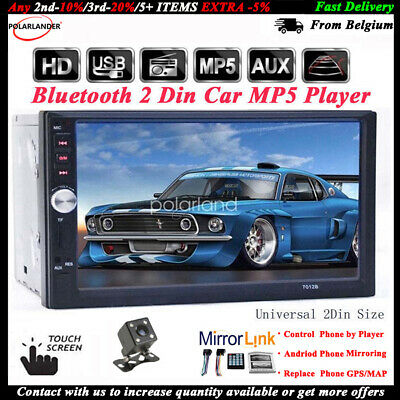 """7""""2 Din Touch Screen Car Radio+Camera FM Bluetooth Mirror Link Stereo MP5 Player"""