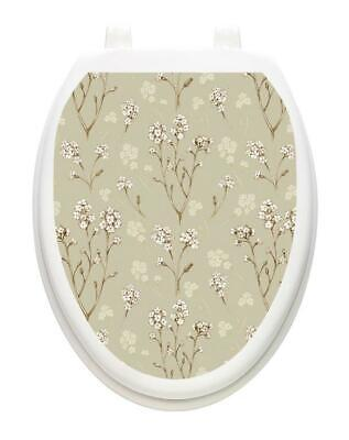 Toilet Tattoos DELICATE FLOWERS Toilet Lid Cover Vinyl Cover Removable Hygienic