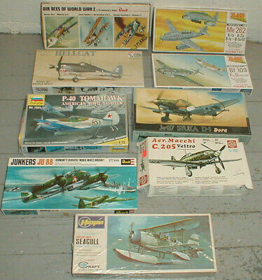 Lot of 9 Vintage 1/72 WW2 & WW1 Aircraft Kits Various Makers Complete Boxed