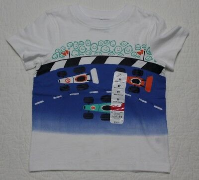 New Jumping Beans Boys Toddler Tee Shirt Tshirt White Race Cars Sz 2T 3T 4T