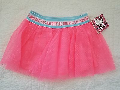 New Girls Hello Kitty Neon Bright Pink Skirt Size 4 Nwt $18