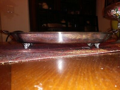 Antique Sheridan Silver Plated Footed Tray/ Dish W/ Handle