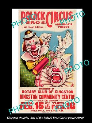 OLD LARGE HISTORIC PHOTO OF KINGSTON ONTARIO, THE  POLACK CIRCUS POSTER c1940 1