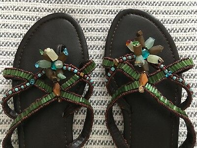 5cbcda956640 Maliparmi Hand Beaded Sandals Crisscross Leather Thongs Stone Flowers Size  7.5
