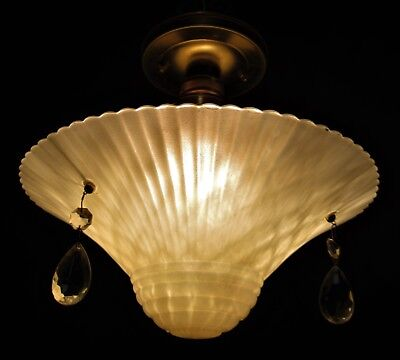 Vtg Art 3 Chain Flower Glass Shade Ceiling Light Chandelier Fixture Crystals