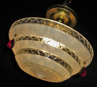 Vtg Art 3 Chain Flower Glass Shade Ceiling Light Chandelier Fixture Red Crystals