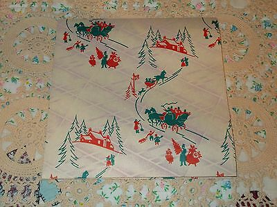 Vtg Christmas Wrapping Paper Gift Wrap Tree Sleigh Winter Scene 1940 Victorian