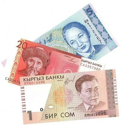 KYRYGZSTAN 1, 5 & 20 ₴om Uncirculated notes Bargain!!