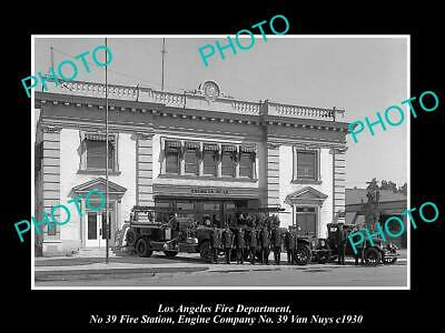 OLD PHOTO LOS ANGELES FIRE DEPARTMENT LAFD, No 39 STATION VAN NUYS c1930