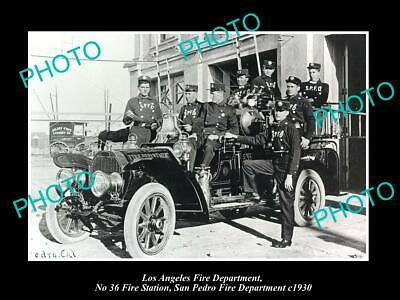 OLD PHOTO LOS ANGELES FIRE DEPARTMENT LAFD, No 36 STATION SAN PEDRO c1930