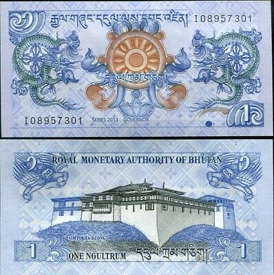 Bhutan 1 Ngultrum 2013 P 27 Unc Lot 100 Pcs = 1 Bundle Nr