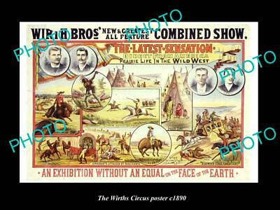 OLD LARGE HISTORIC PHOTO OF THE WIRTH BROTHERS CIRCUS POSTER c1890