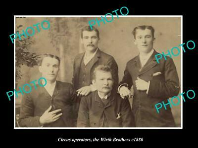 OLD LARGE HISTORIC PHOTO OF AUSTRALIAN CIRCUS FAMIILY, THE WIRTH BROTHERS c1880