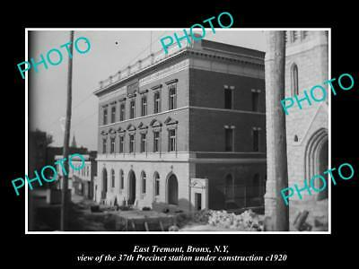 OLD LARGE HISTORIC PHOTO BRONX NEW YORK, EAST TREMONT 37th POLICE STATION c1920