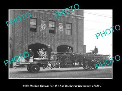 OLD LARGE HISTORIC PHOTO BELLE HARBOR QUEENS NEW YORK, THE FIRE STATION c1920 2