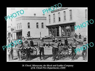 OLD LARGE HISTORIC PHOTO St CLOUD MINNESOTA, THE FIRE HOOK & LADDER TEAM c1880