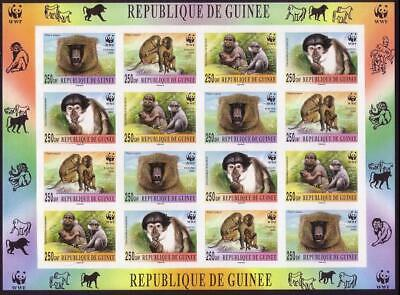 Guinea WWF Mangabey and Baboon Imperforated Sheetlet of 4 sets MNH