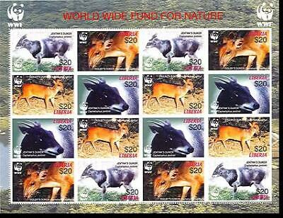 Liberia WWF Duikers Imperforated Sheetlet of 4 sets MNH