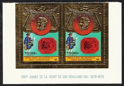 Comoro Is. Sir Rowland Hill 1v Gold Foil pair MNH MI#501A