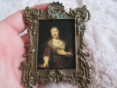 Stunning 19th Century French Miniature Rococo Frame - Picture Portrait of Lady