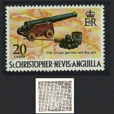 St. Kitts-Nevis 17th Century Cannon Pirates 1v 20c Watermark Ww14 MNH SG#329
