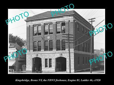 OLD LARGE HISTORIC PHOTO KNIGHTSBRIDGE BRONX NEW YORK, THE FIRE STATION c1920