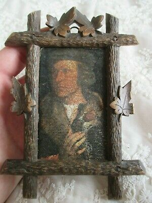 Stunning Carved Miniature Black Forest Frame - Picture of Gentleman with Hawk