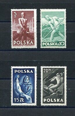 Poland 1947 Various Workers Scott 413-416 Perfect Mnh Quality