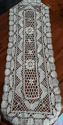 Increadable Vintage cream Crocheted Lace Table Runner with butterflies  101cm