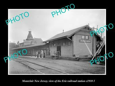 OLD LARGE HISTORIC PHOTO OF MONTCLAIR NEW JERSEY, ERIE RAILROAD STATION c1910 2