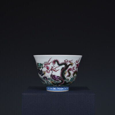 Fine Chinese old Porcelain Qing yongzheng mark famille rose Five dragon teacup