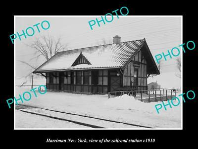 OLD LARGE HISTORIC PHOTO OF HARRIMAN NEW YORK, ERIE RAILROAD STATION c1910 1