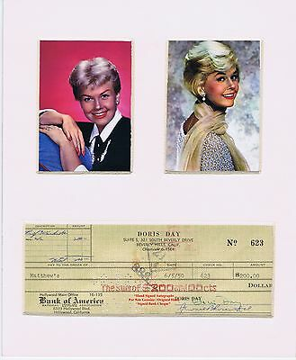 DORIS DAY  Mounted Display  Early Hand Signed Cancelled Bank Cheque 1950  V RARE