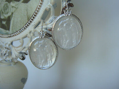 TAGLIAMONTE Designs (#444) 925SS/YGP + Venetian Cameo Earrings *3 Graces*