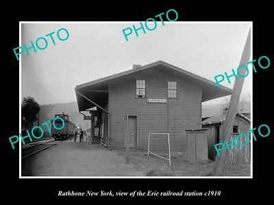 OLD LARGE HISTORIC PHOTO OF RATHBONE NEW YORK, ERIE RAILROAD STATION c1910 2