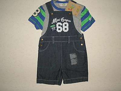 Baby Boys Clothes 2 Piece set Denim Dungaree short T shirt Lilly-Jack  6-12 m