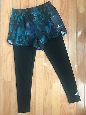 NWT adidas Girls 2in1 Shorts/Leggings Black/Multi AK4498 S-L F28