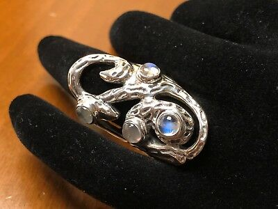 Beautiful Openwork Design Textured Sterling Silver Ring W/Moonstone Cabochons 6