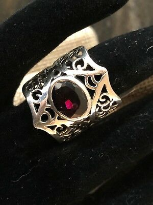 Beautiful Openwork Design Wide Sterling Silver Ring With Oval Cut Garnet 6