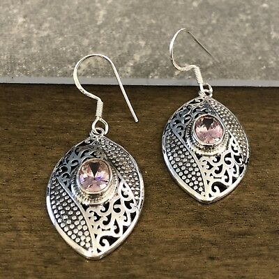 Beautiful Purple Amethyst & Sterling Silver Openwork Design Dangling Earrings