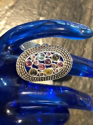 Beautiful Openwork Design Wide Sterling Silver Ring W/Multi Gemstones Sz 7