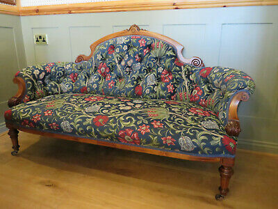 1880 Walnut Sofa Reuphostered William Morris Inspired Fabric