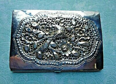 Antique Art Nouveau Sterling Silver Card Case Reticulated Swallow Bird 70 Grams