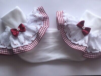 Handmade burgundy gingham school girls frilly socks