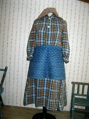 Antique Early Primitive Small Girl's Homespun Dress Brown & Blue W/ Calico Apron